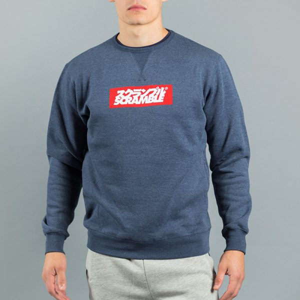Scramble Crew Neck Box Logo navy melange