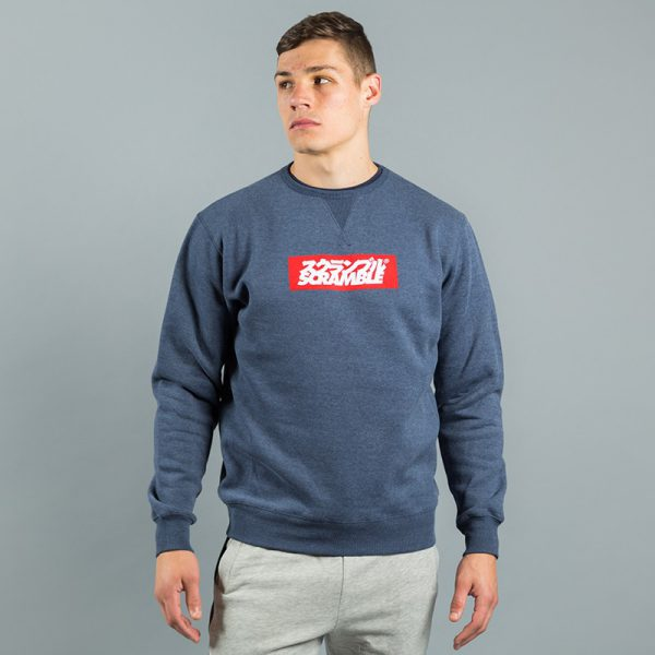 box logo sweater navy melange 2