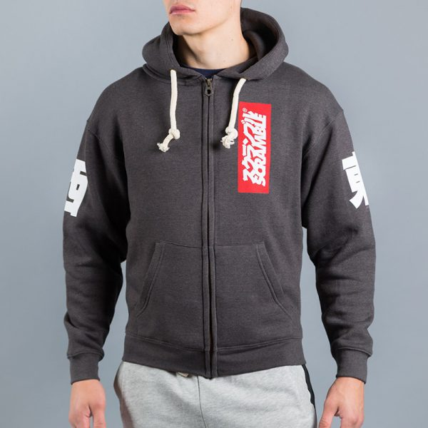 Scramble Zip Hoodie East/West black melange