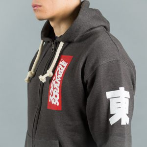east west zip up hoody black melange 4