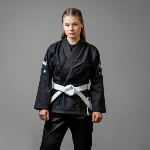 hyperfly bjj gi ladies hyperlyte 2.0 black white 1 scaled