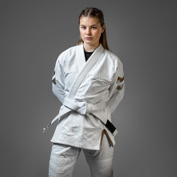 hyperfly bjj gi ladies hyperlyte 2.0 white bronze 1