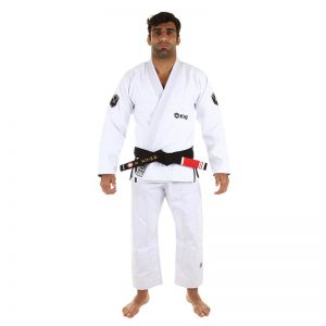 Balistico 2.0 white BJJ Gi from Kingz Kimonos with Coolmax lining and No-Grip sleeve technology.