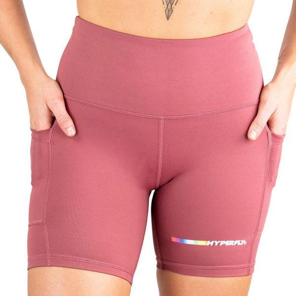 hyperfly flygirl athletic shorts 2.0 dusty rose 3