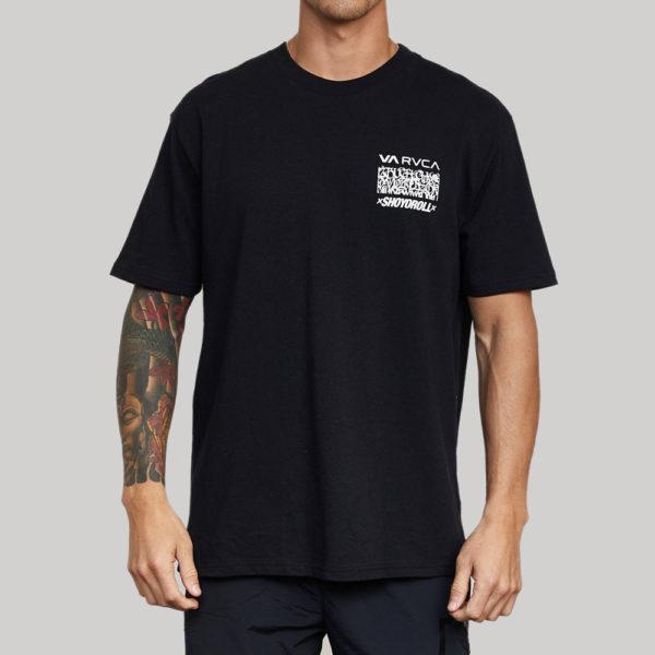 rvca x shoyoroll t shirt defer vaxsho black 1