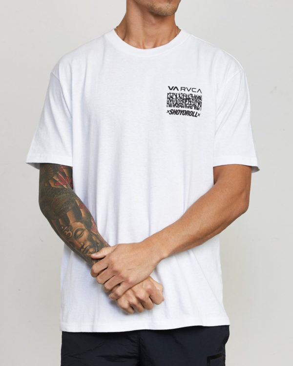 rvca x shoyoroll t shirt defer vaxsho white 1