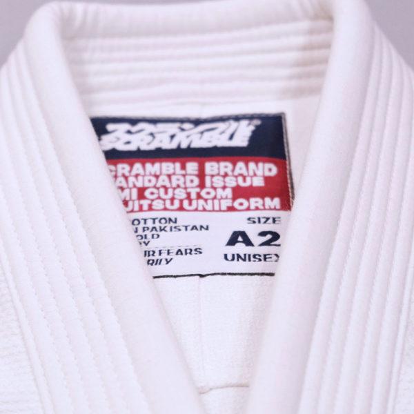 scramble bjj gi standard issue semi custom v3 white 2